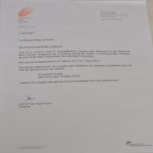 LETTER OF TESTIMONY RECEIVED BY DR.VIJAYALAKSHMI, NATIONAL SKIN CENTER, SINGAPORE