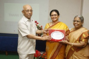 Dr.Maya receiving Oration from Prof.Patrick and Prof.Senthamilselvi
